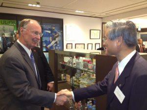 Gov. Robert Bentley greets Otsuka CEO Tatsuo Higuchi during Japan trade mission.