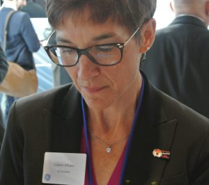 GE Aviation exec Colleen Athans sporting an Auburn pin at Farnborough.