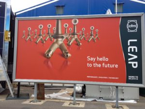 A billboard at the Farnborough Airshow shows the part GE Aviation will make in Auburn.