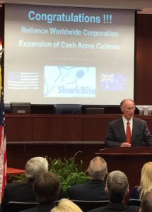Gov. Robert Bentley at RWC Sharkbite project announcement in Cullman, AL