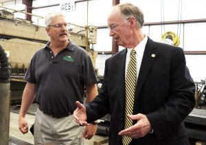 Alabama Gov. Robert Bentley poses for photos and greets workers at Hornsby Steel, Inc., in Cleveland, Alabama, Monday, Sept. 28, 2015, while touring the small business that bends and rolls steel into intricate shapes, often used in architectural projects. The company was one of eight Alabama companies presented the Governor's Trade Excellence Awards in March 2014. (Governor's Office, Jamie Martin)